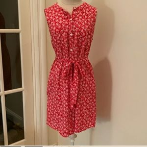 EUC Gap red floral shirt dress